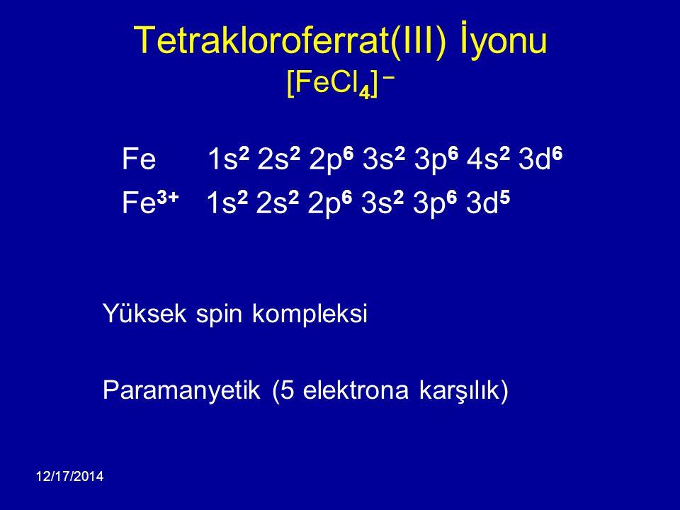 Tetrakloroferrat(III) İyonu [FeCl4] –